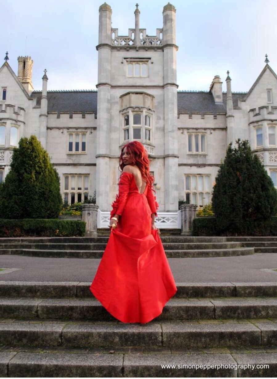 IRENE MAJOR MODELS AVENARD COUTURE DRESS AT INGRESS ABBEY