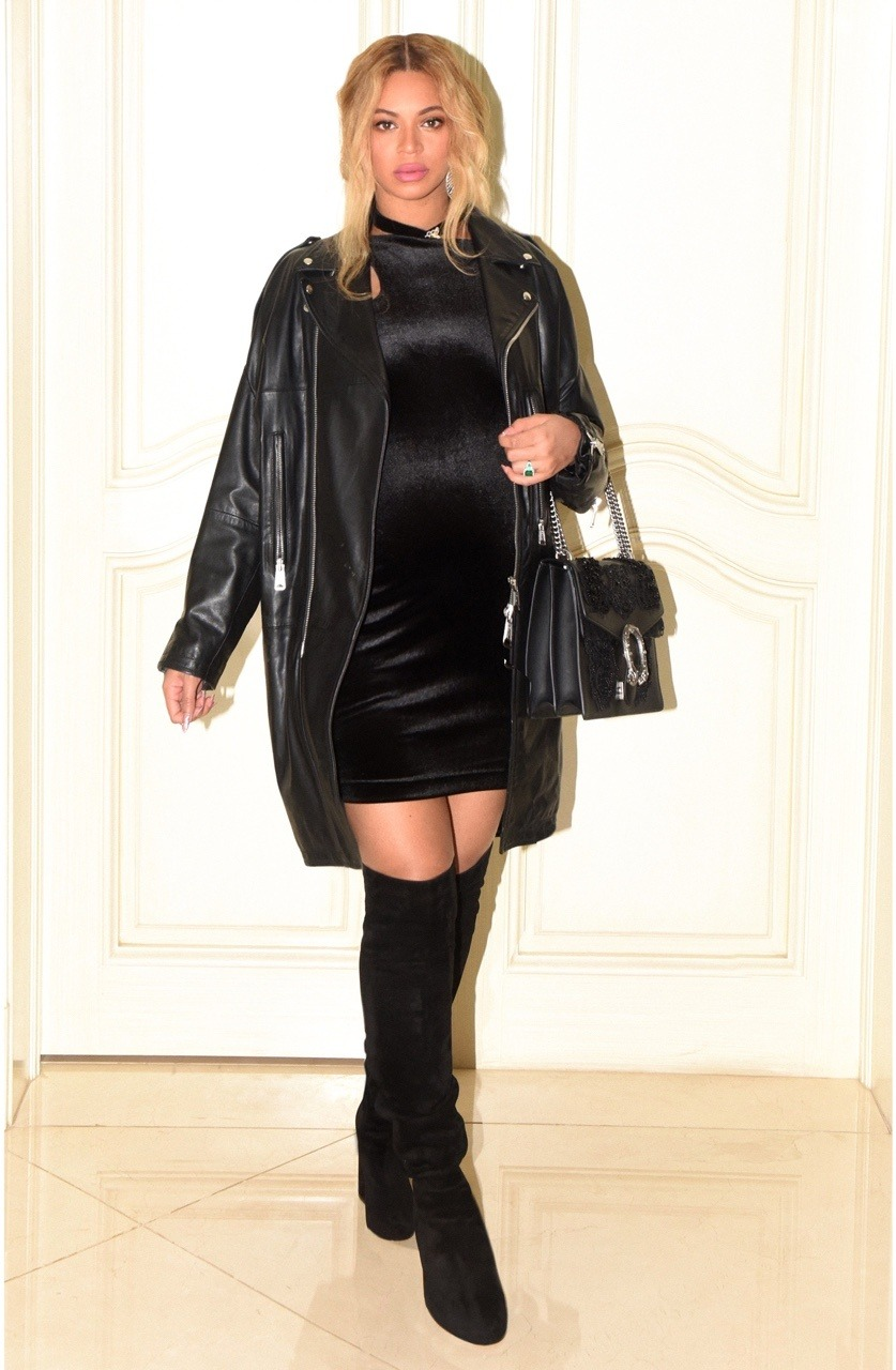 BEYONCÉ ATTENDS MR LAWSON'S BIRTHDAY IN SEXY BODYCON LITTLE BLACK DRESS AND THIGH HIGH BOOTS