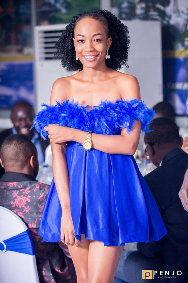 Top Cameroonian Model Stephanie Yimga Stuns in Blue Dress at Footballer Ndip Tambe's wedding