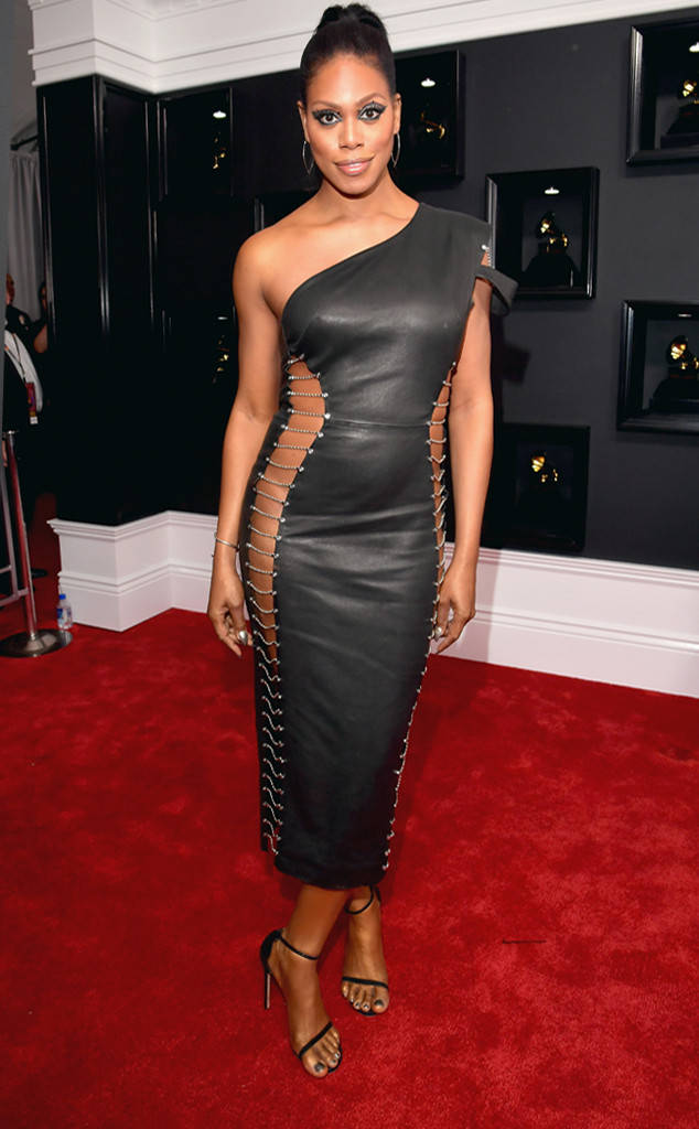 Laverne Cox bares some out in a Bryan Hearns one-shoulder leather dress