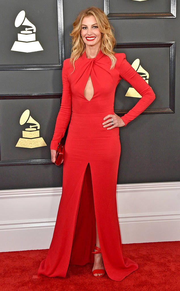 Faith Hill looks hot in a red dress and matching clutch and sandals by Zuhair Murad