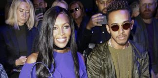 NAOMI CAMPBELL AND LEWIS HAMILTON LOOK SO COOL AT VERSACE SHOW TOGETHER