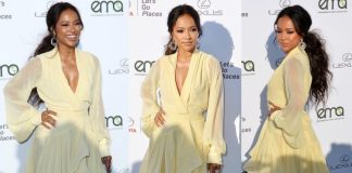 Binge: Karrueche Tran Yellow Ruffled Chiffon Julea Domani Dress