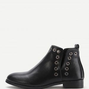 Grommet Design Block Heeled Boots
