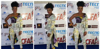ACTRESS NSANG DILONG ROCKS RED CARPET IN A CASCADING ANKARA INSPIRED & LACE HIGH-LOW PEPLUM OUTFIT