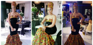 Stephanie Tum Rocks OZI Strapless Kente Dress To Cameroon Fashion Awards