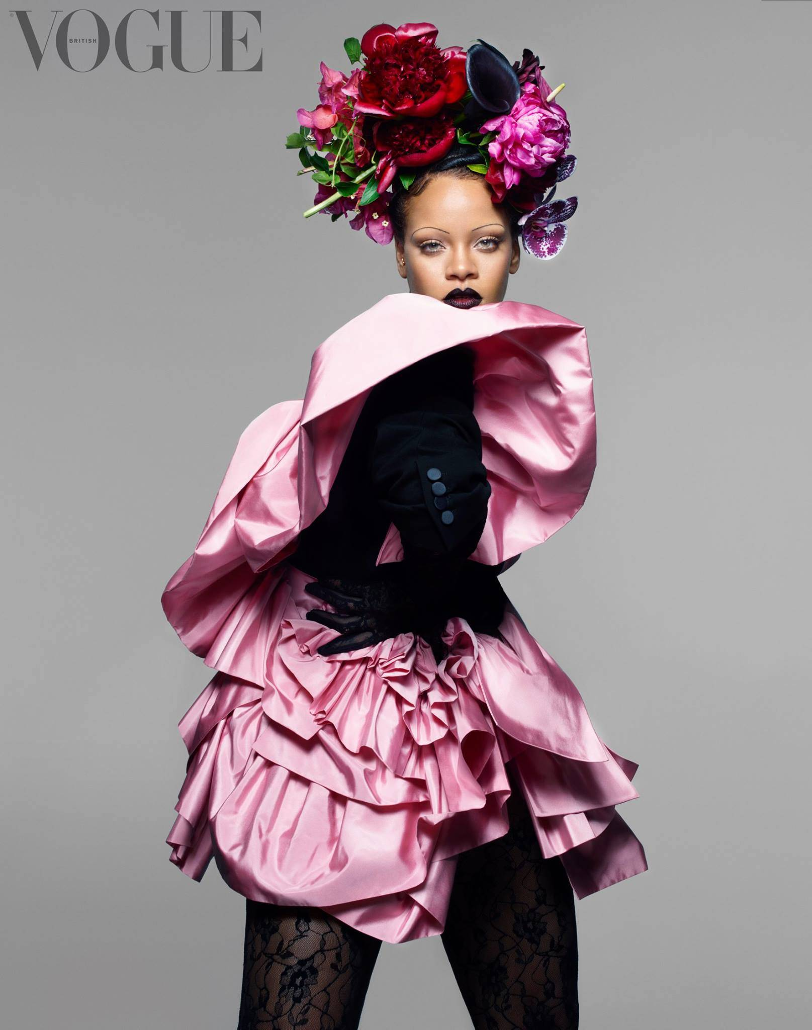 Thin Eyebrows- Rihanna- British Vogue-Mammypi FashionTV