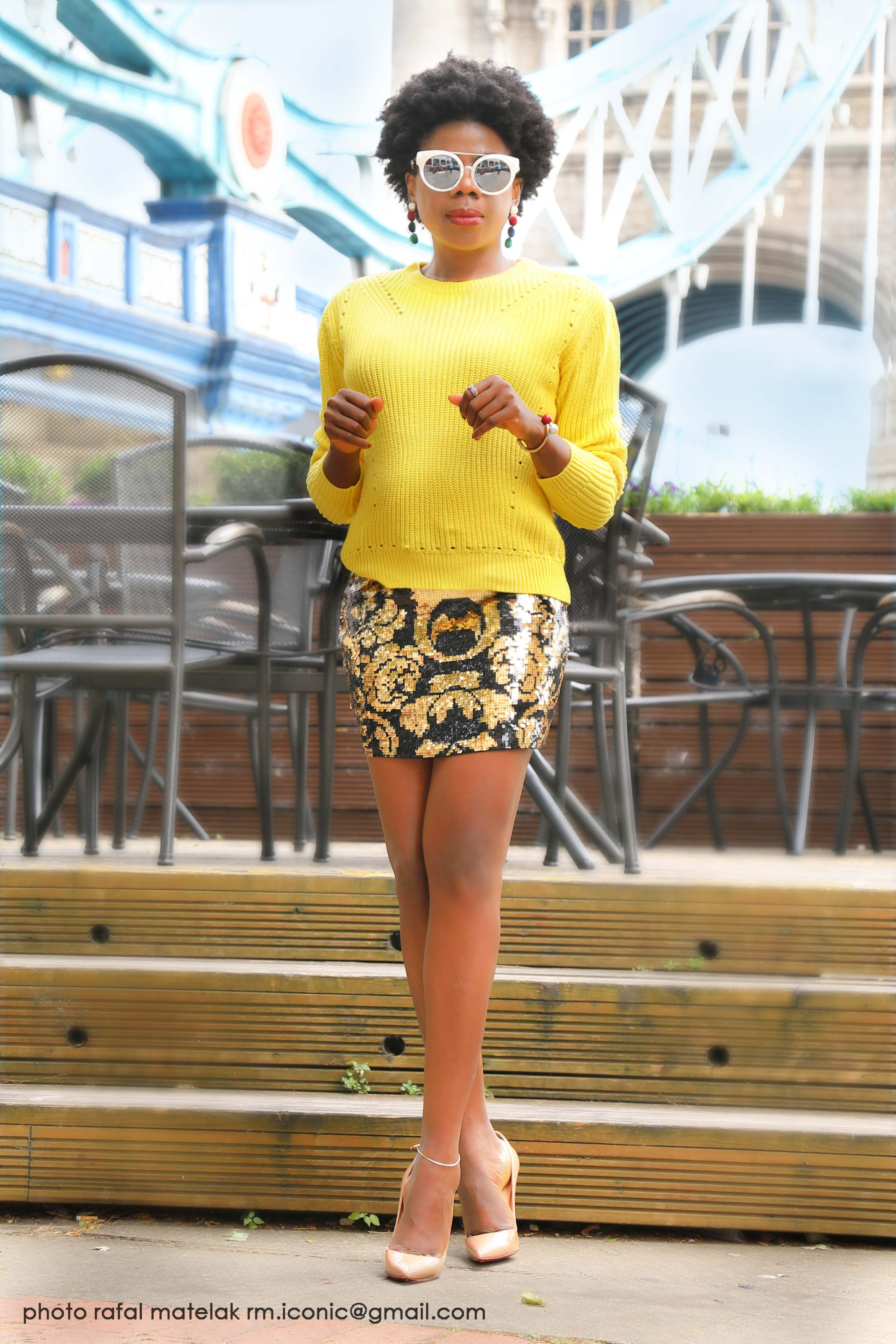 Sequin Skirt X Chunky Knit Jumper