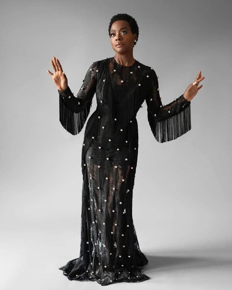 Viola Davis in Black Dress by David Koma