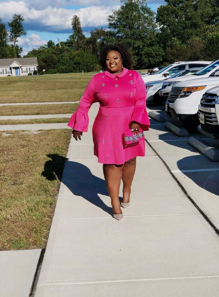 Pink fit and flare dress for breast cancer
