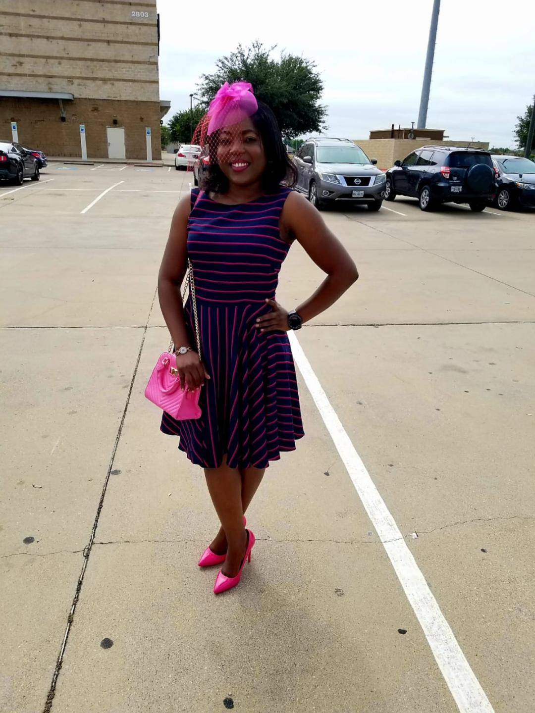 Pink church outfit, wedding guest outfit