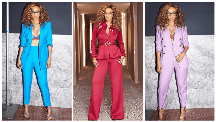 Tyra Banks in Custom Don Morphy Pant Suits