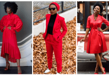 Styling red fashion clothing