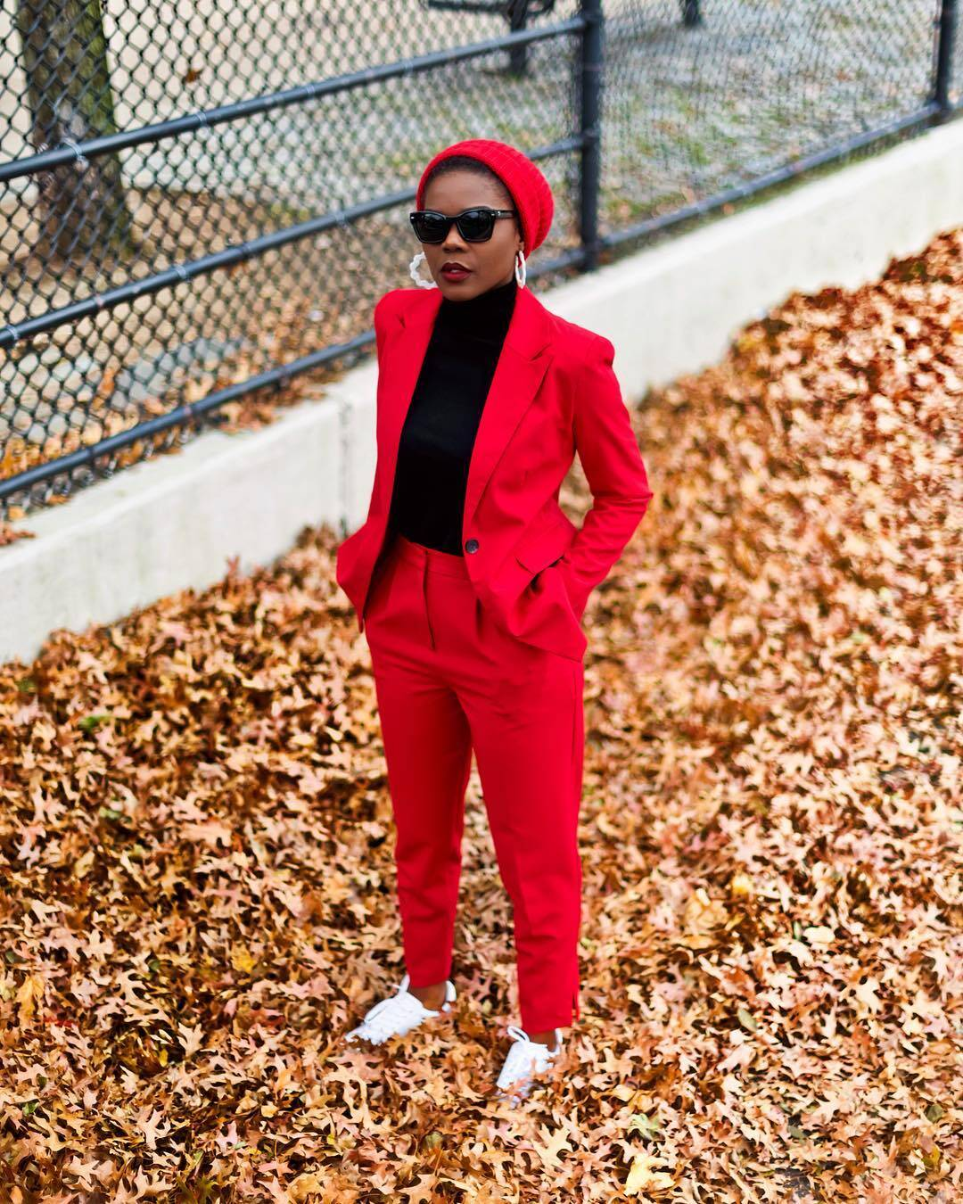 Styling a red suit