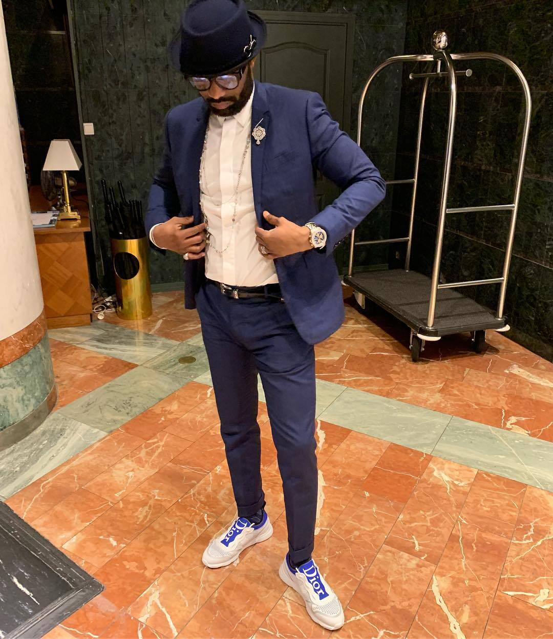 "Fally Ipupa Shows Off Personal Fashion Style Dior ""B21 Neo"" Sneakers for Men"
