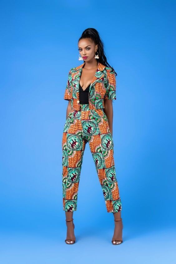 Crop Ankara Blazer and High Waist Capri