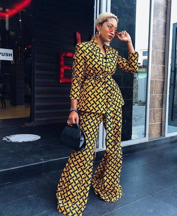 Ankara Belted Flare Pantsuit
