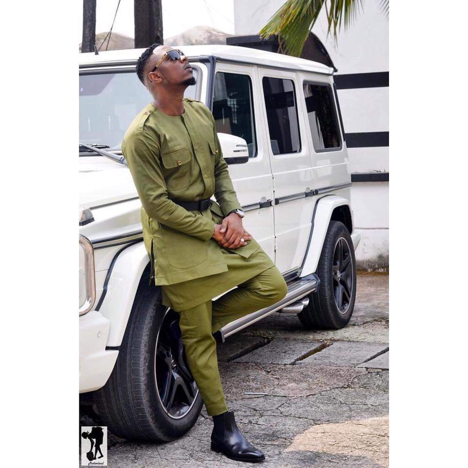 Stanley Enow celebrates his birthday in army green khaki