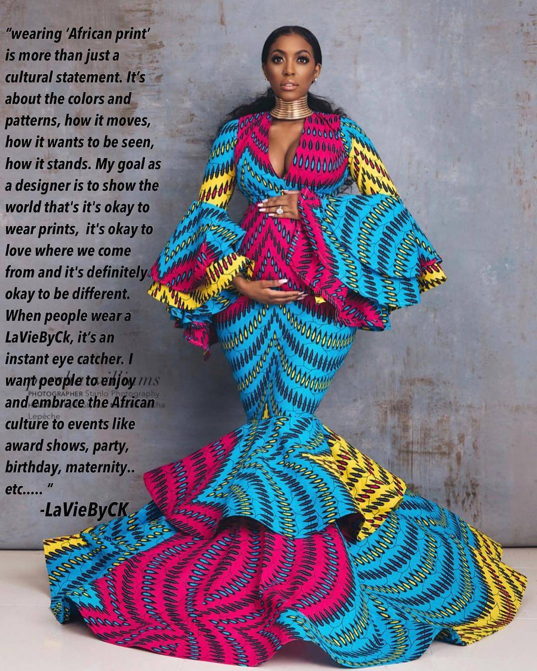 Multi color African Print evening dress by Lavie By CK