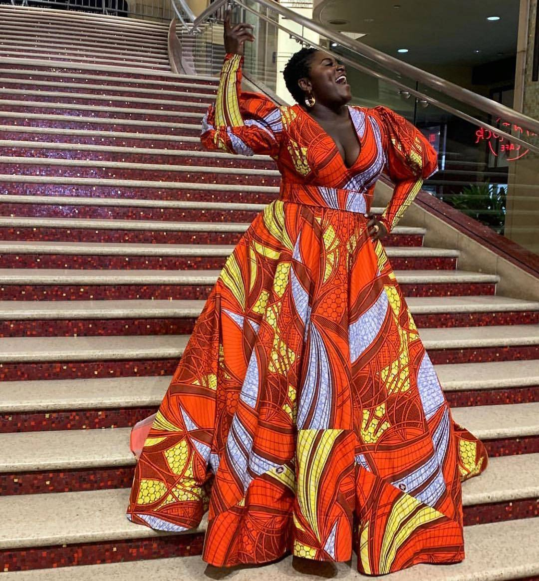 Danielle Brooks in Lavie By CK African Print Ball Gown