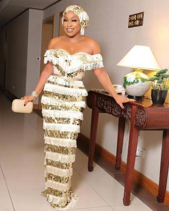 Rita Dominic in TUBO custom dress