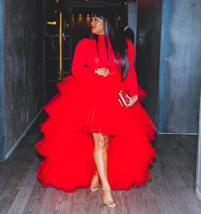 Red tulle skirt and roll neck top
