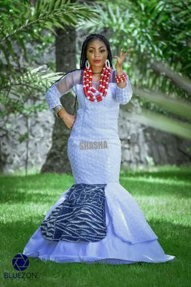 Toghu Print Long Wedding Dress