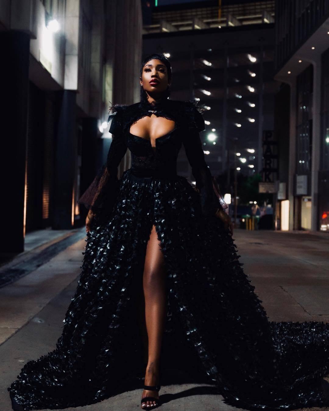 Sai Sankoh in All Black Haute Couture Dress