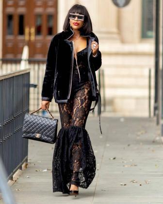 Black lace trousers
