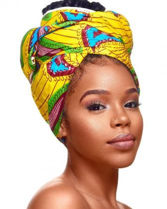 Bold and colourful headtie