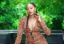 Cameroonian actress Nora Ndem in Leopard Print Dress
