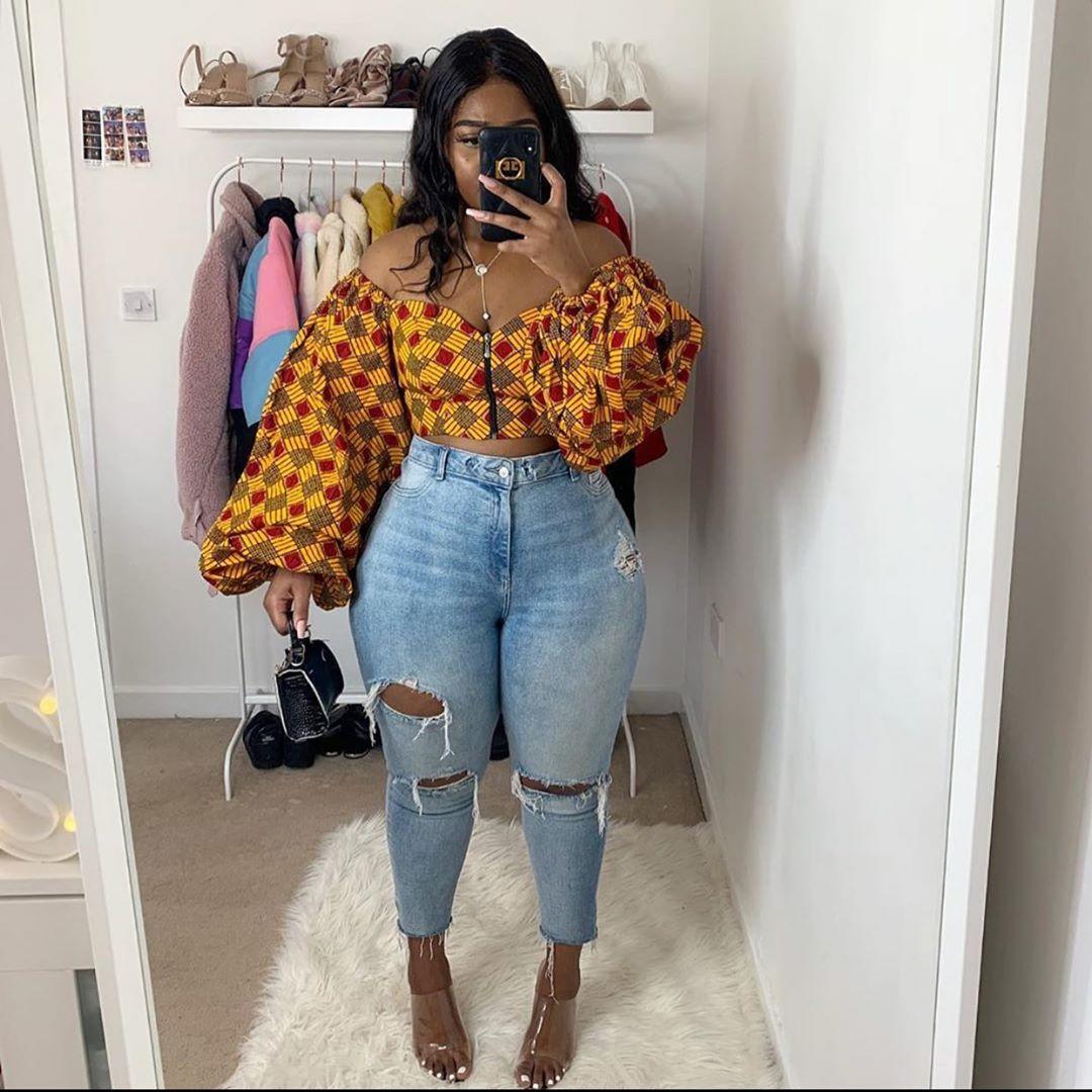 African print Crop blouses